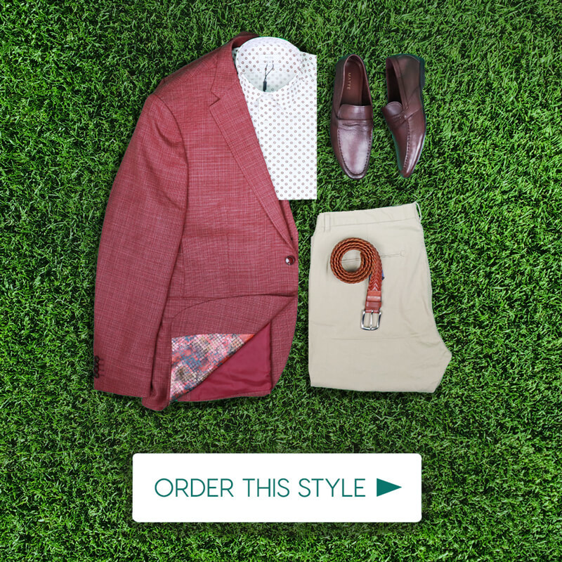 Dubai World Cup Mens Outfit Red Blazer
