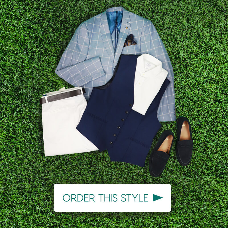 Dubai World Cup Mens Outift Blue Check Blazer